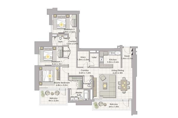 تاور 1 , ثلاث غرف نوم  مع شرفة , وحدة 2 طابق 2-17