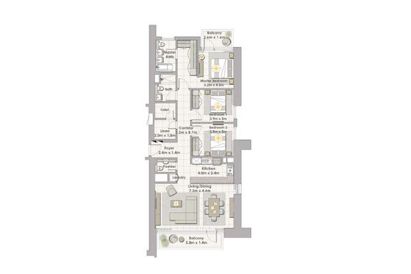 تاور 1 , ثلاث غرف نوم مع شرفة , وحدة 7 طابق 2-17