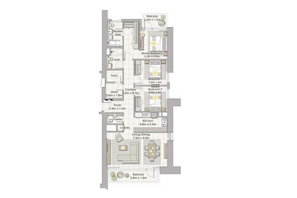 تاور 1 , ثلاث غرف نوم مع شرفة , وحدة 7 طابق 19-34