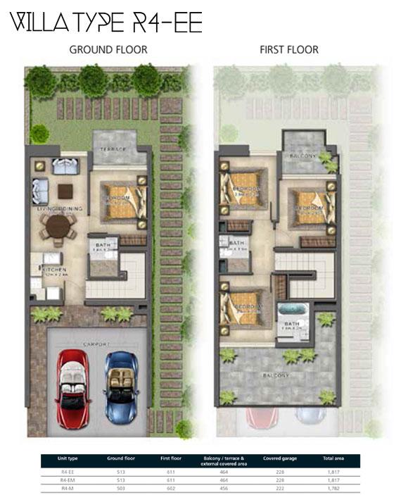 R4-EE  Villas Size 1821 sq ft