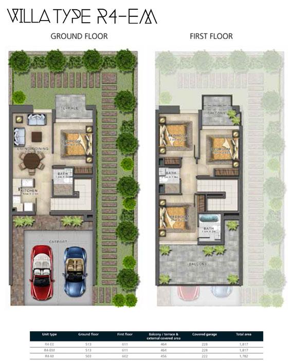 R4-EM Villas Size 1821 sq ft