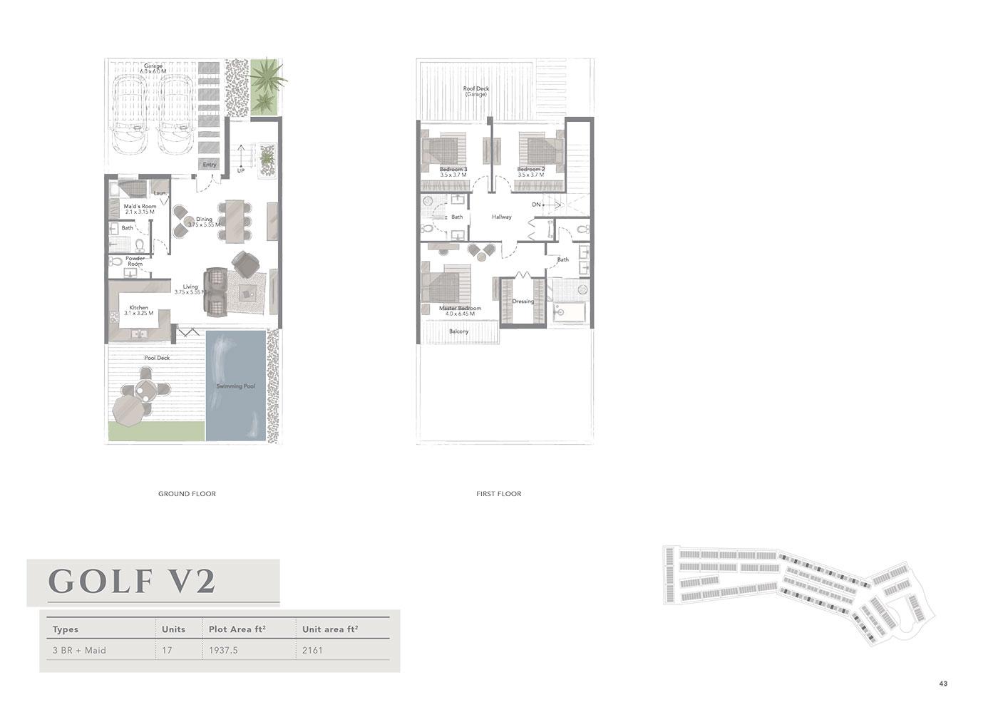 3 Bedroom +Maid, Golf V2, Size 2161 sq ft