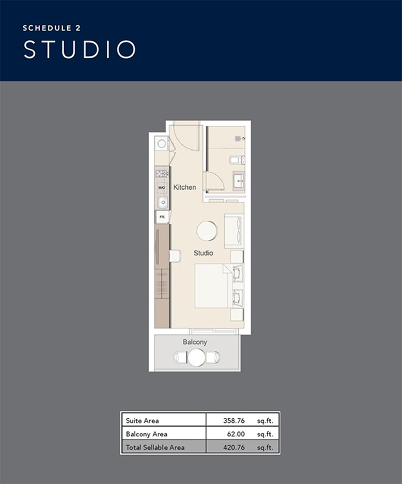 Studio Size 420.76 Sq.ft