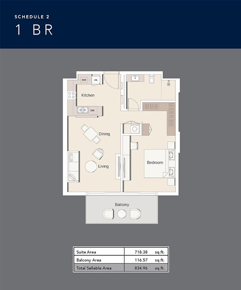 1 Bedroom  834.96 Sq.Ft