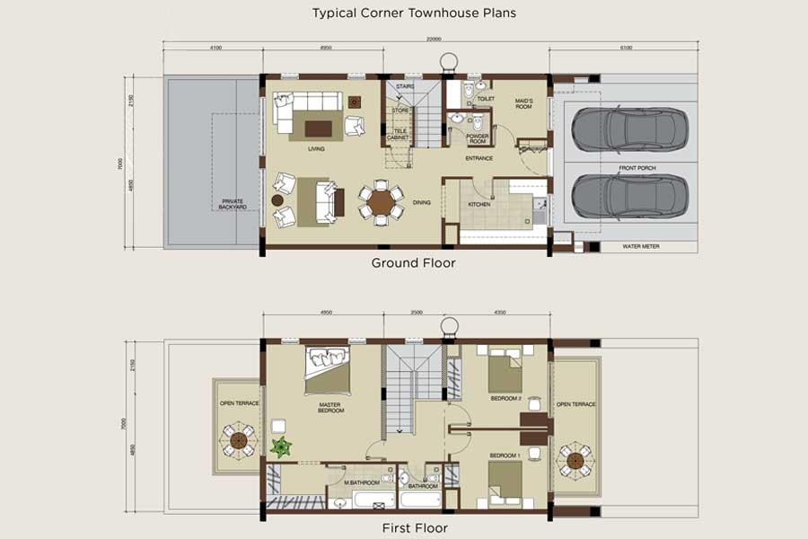 مخطط الطابق، تاون هاوس في الزاوية، 1850.00 قدم مربع