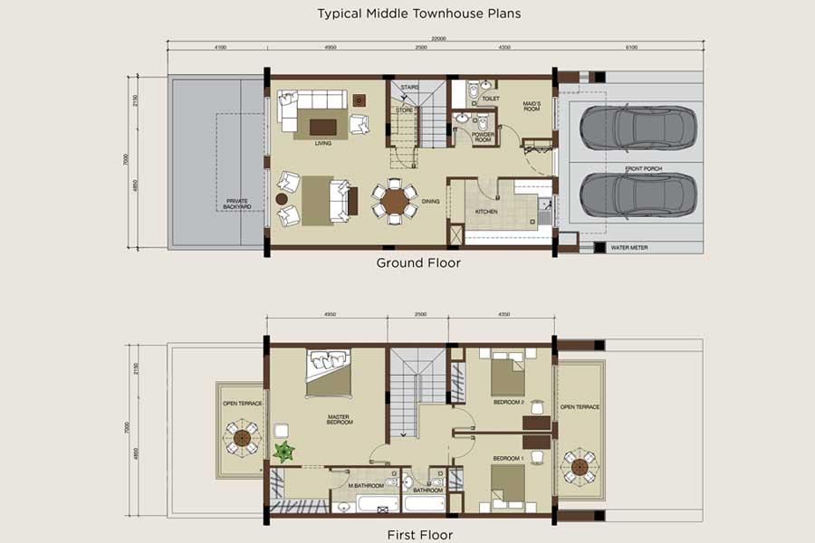 مخطط الطابق النموذجي لتاون هاوس في الزاوية، بحجم 2100.00