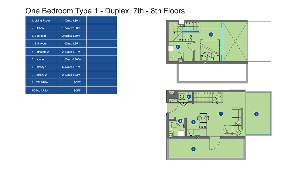 Bedroom 1 Type Duplex 7th to 8th Floor