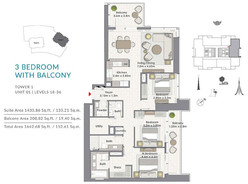 ثلاث غرف نوم مع الشرفة، البرج الأول،   وحدة 1 ، المستوى 18-36