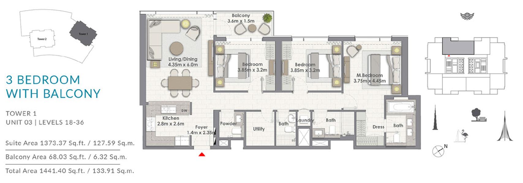 ثلاث غرف نوم مع الشرفة، البرج الأول،   وحدة 3 ، المستوى 18-36