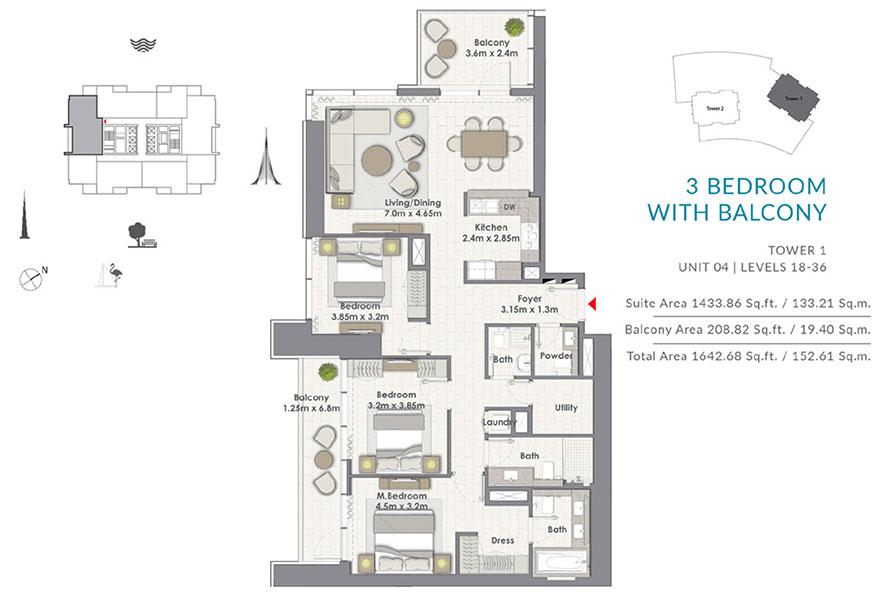 ثلاث غرف نوم مع الشرفة، البرج الأول،   وحدة 4 ، المستوى 18-36