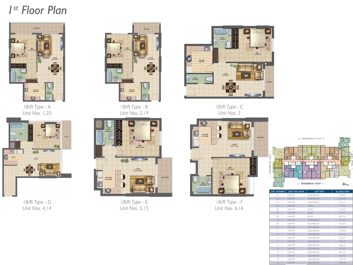 Bedroom 1 - 1st-Floor Type-A-B-C-D-E-F