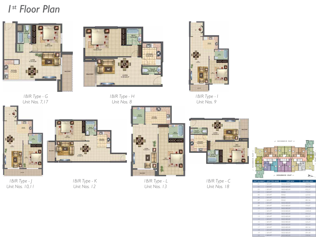Bedroom 1 - 1st- Floor Type-G-H-I-J-K-L-C