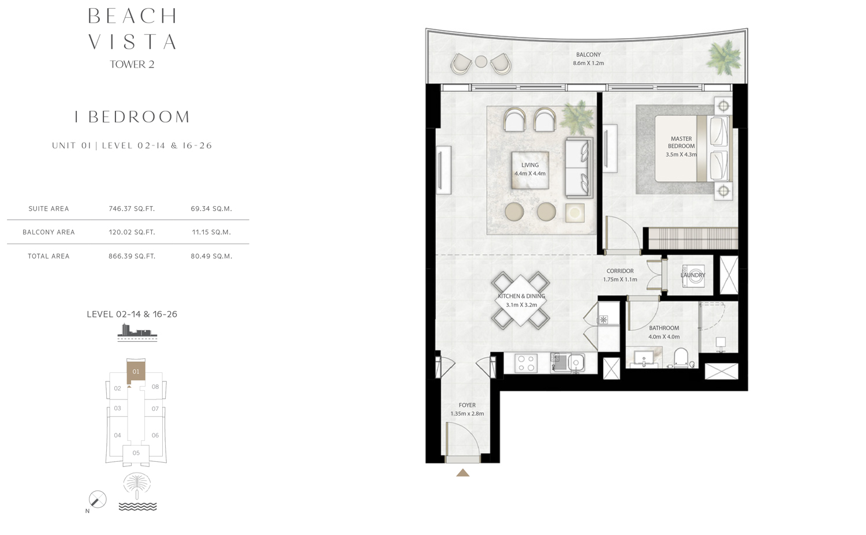 Bedroom 1 -U1-L2-14-16-26- Size 866.39 sq.ft