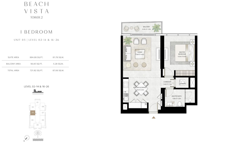 Bedroom 1 -U3-L2-14---16-26- Size  721.82 sq.ft