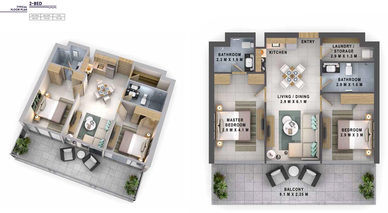 2Bedroom Size 901 sqft