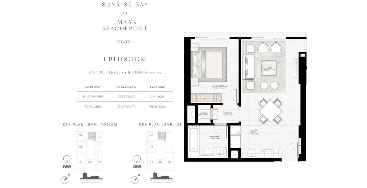 Bedroom 1 -U -04-L-01-P-01-05-704-71 sq.ft