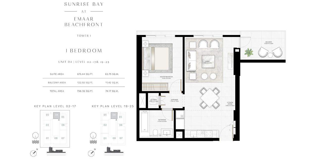 Bedroom 1 -U-04-L-02-17-19-25-798-36 sq.ft