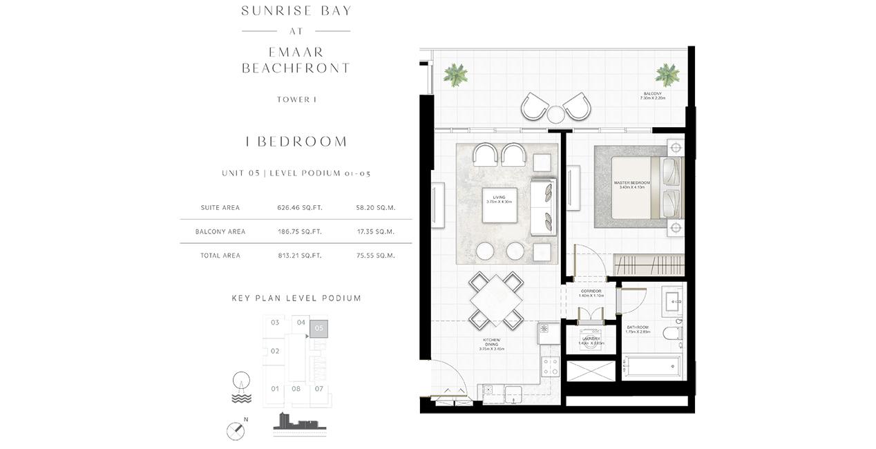 Bedroom 1 -U-05-L-P-01-05-813-21 sq.ft