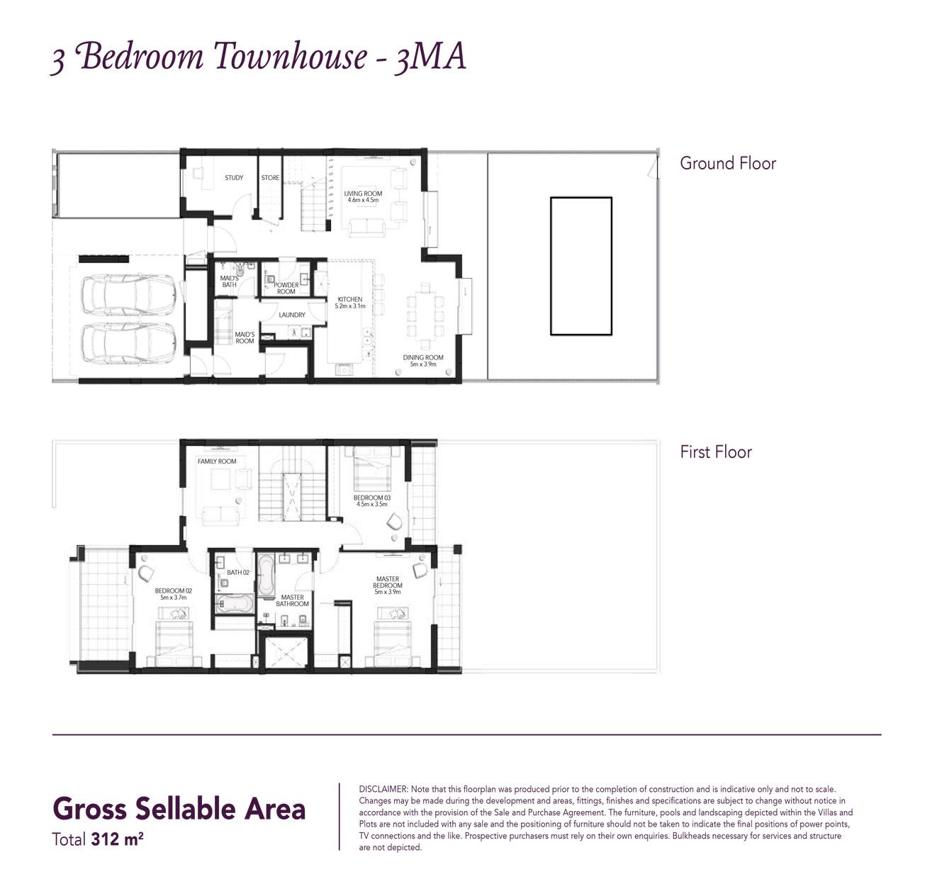 تاون هاوس من ثلاث غرف نوم - مساحة مبنية 3378 قدم مربع