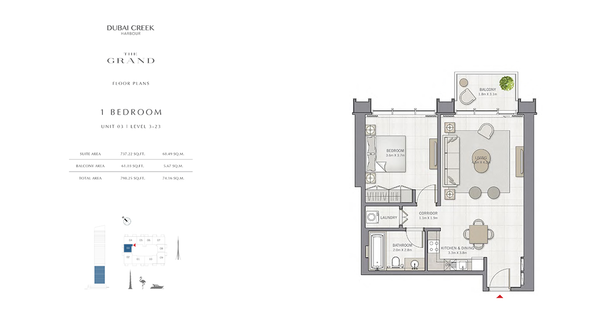 Bedroom 1  Unit - 3 , Level 03-23, Size 298.25 sq.ft.