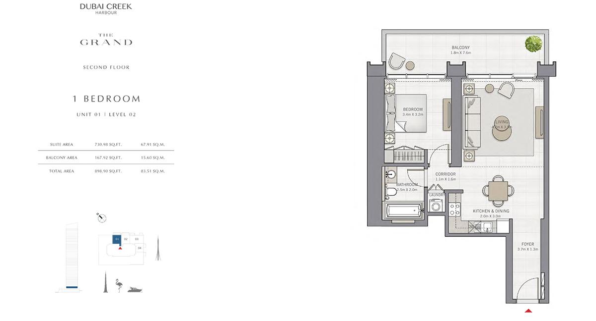 Bedroom 1 Unit - 1, Level 2, Size 898.90 sq.ft.
