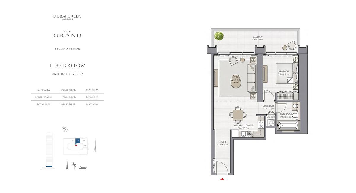 Bedroom 1 Unit - 2, Level 02, Size 904.92 sq.ft.