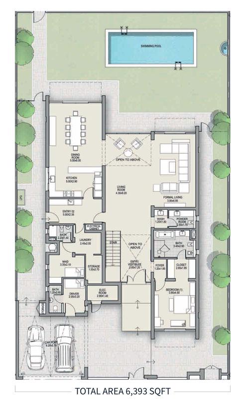 4 غرف نوم، النوع A ، الطابق الأرضي، حجم 6393 قدم مربع