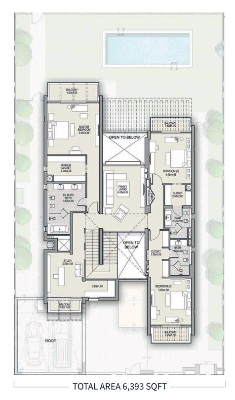 4 غرف نوم، النوع A ، الطابق الأول ، حجم 6393 قدم مربع