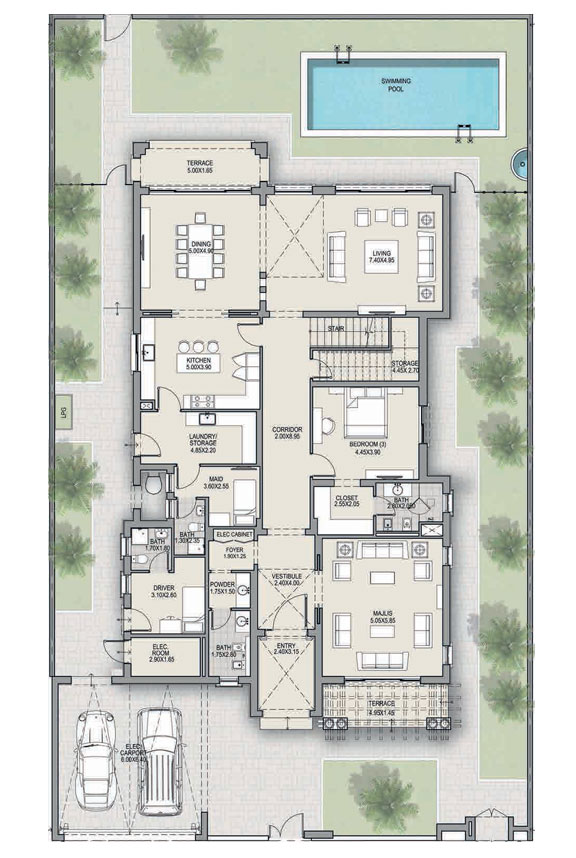 4 غرف نوم، النوع A ، الطابق الأرضي ، حجم 6435 قدم مربع