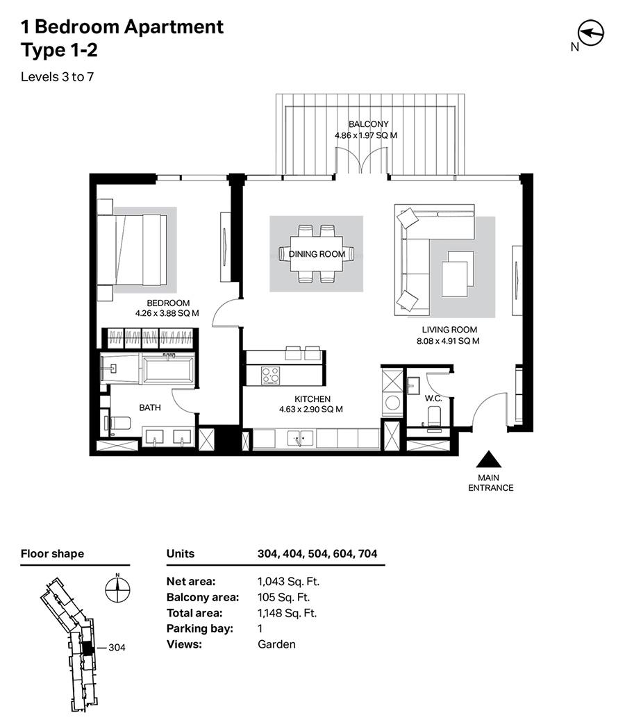 غرفة نوم واحدة، النوع 1 ، 2 ، المستوى 3 إلى 7 ، 1148 قدم مربع