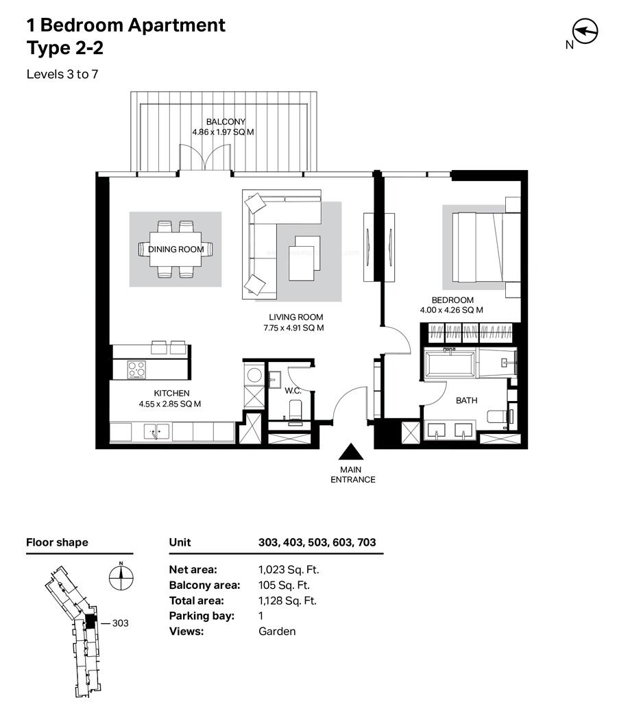 غرفة نوم واحدة، النوع 2 ، 2 ، المستوى 3 إلى 7 ، 1128 قدم مربع