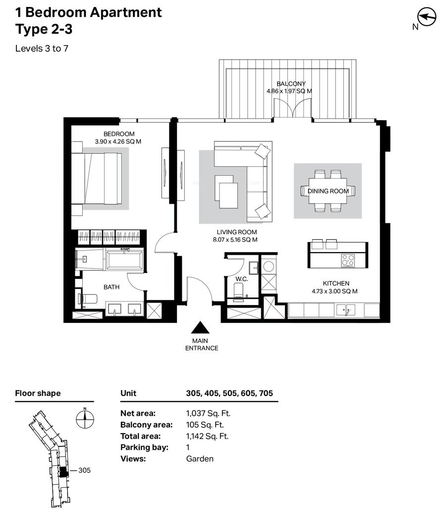 غرفة نوم واحدة، النوع 2 ، 3 ، المستوى 3 إلى 7 ، 1142 قدم مربع