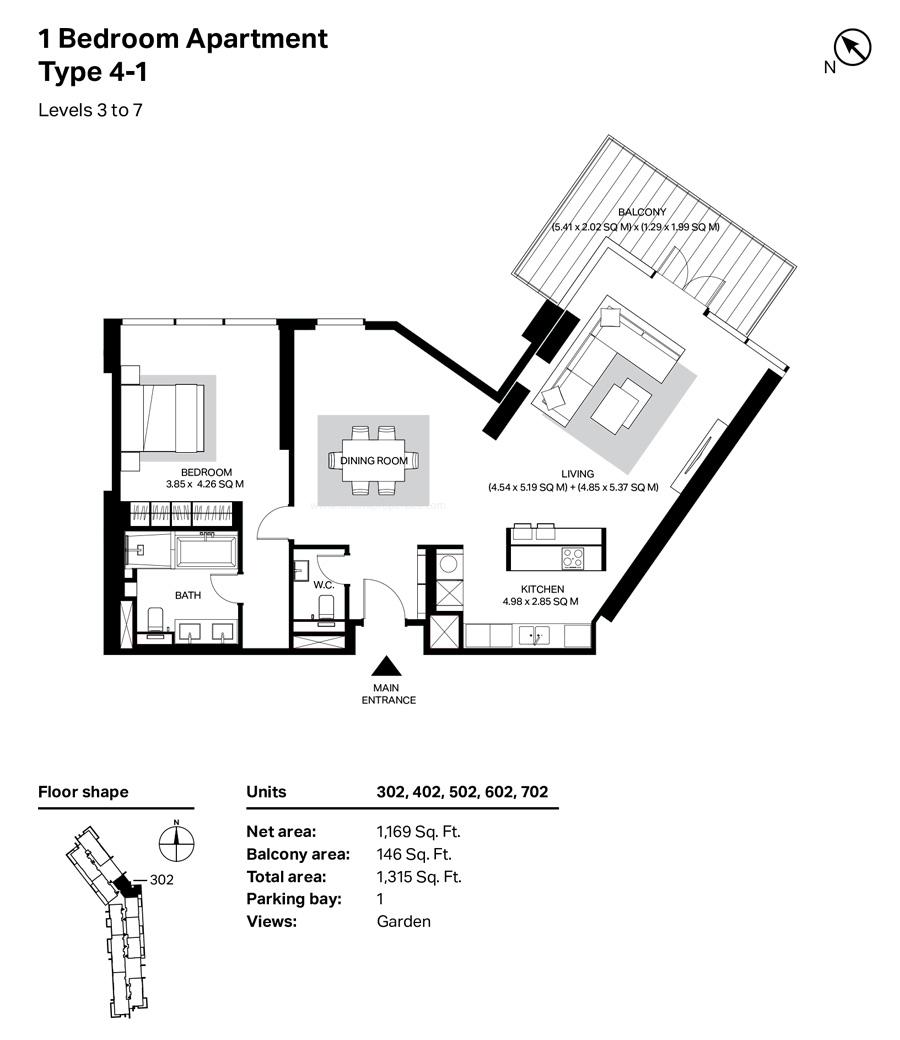غرفة نوم واحدة، النوع 4 ، 1، المستوى 3 إلى 7 ،  1315 قدم مربع