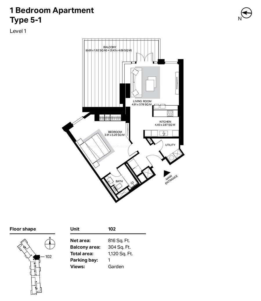 غرفة نوم واحدة، النوع 5 ، 1 ، المستوى 1 ، 1120  قدم مربع