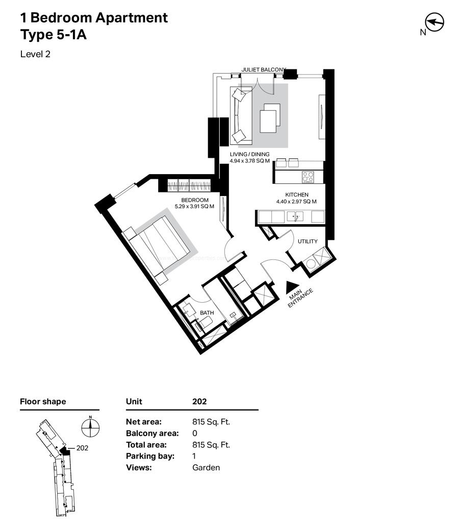 غرفة نوم واحدة، النوع 5 ، A1 ، المستوى 2 ، 815  قدم مربع