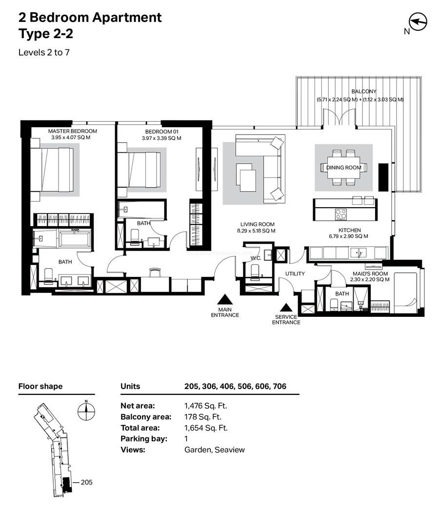 غرفتي نوم، النوع 2 – 2 ، المستوى 2 إلى 7 ، 1654 قدم مربع