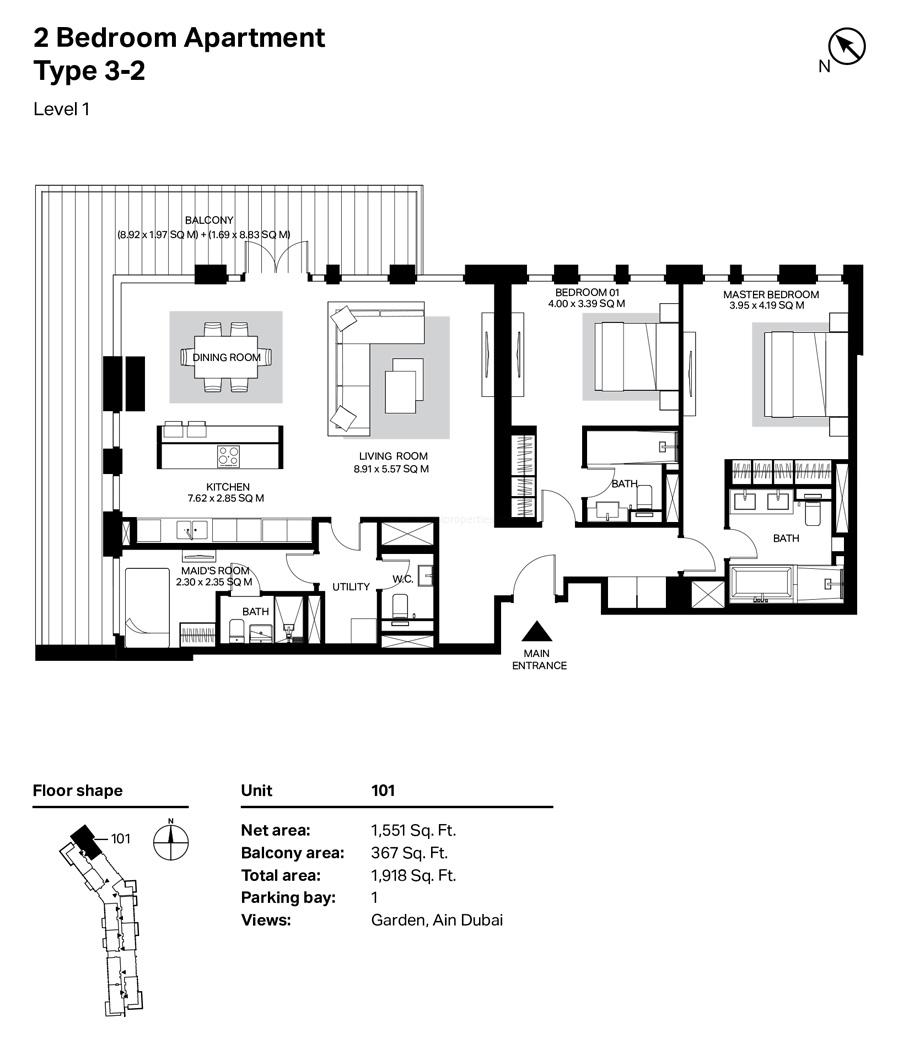 غرفتي نوم، النوع 3 – 2 ، المستوى 1 ، 1918 قدم مربع