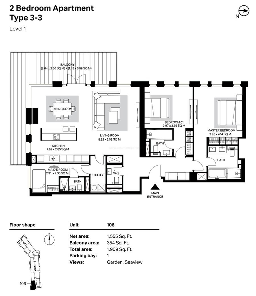 غرفتي نوم، النوع 3 – 3 ، المستوى 1 ، 1909 قدم مربع