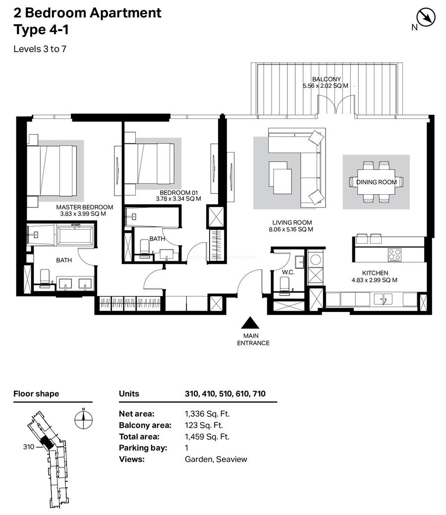 غرفتي نوم، النوع 4 – 1 ، المستوى 3 إلى 7 ، 1459 قدم مربع