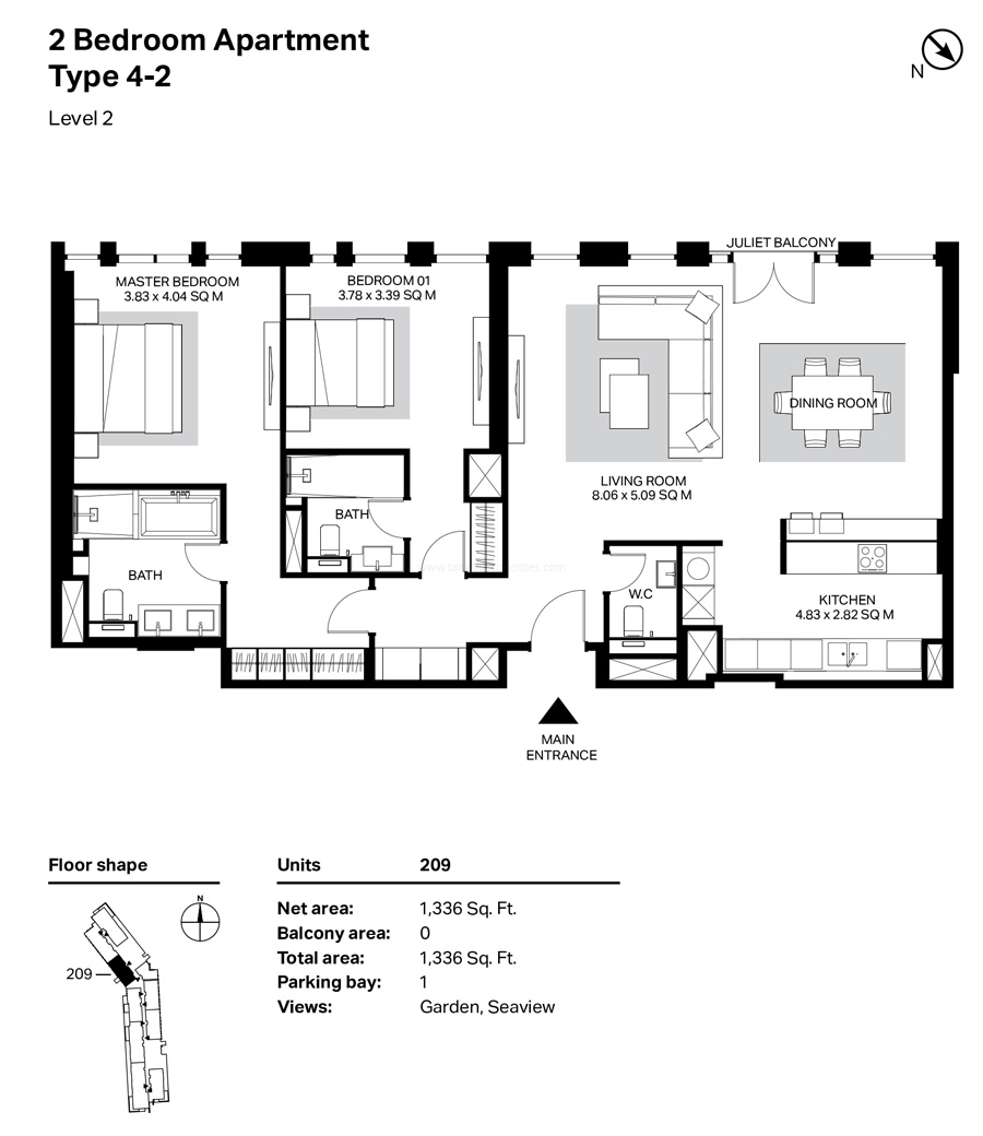 غرفتي نوم، النوع 4 – 2 ، المستوى 2 ، 1336 قدم مربع