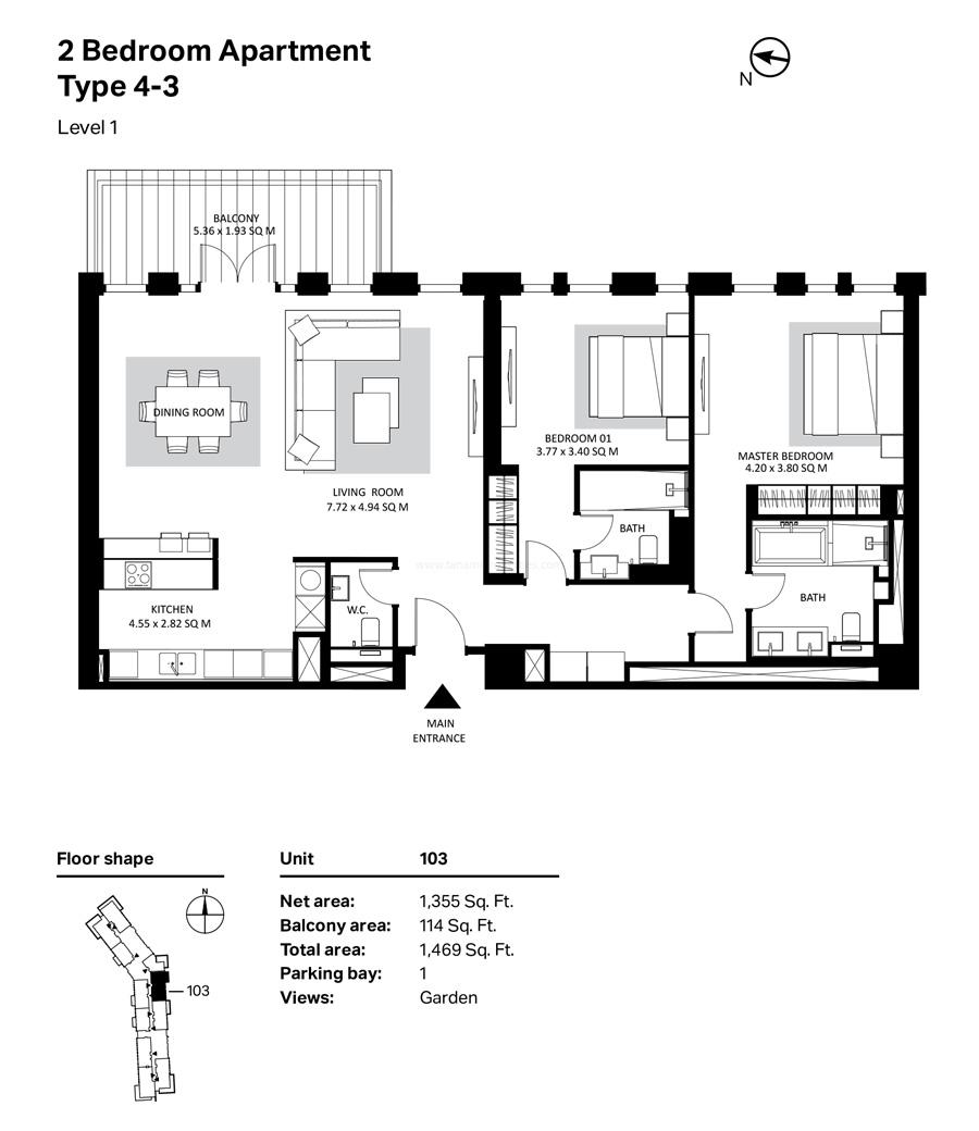غرفتي نوم، النوع 4 – 3 ، المستوى 1 ، 1469 قدم مربع