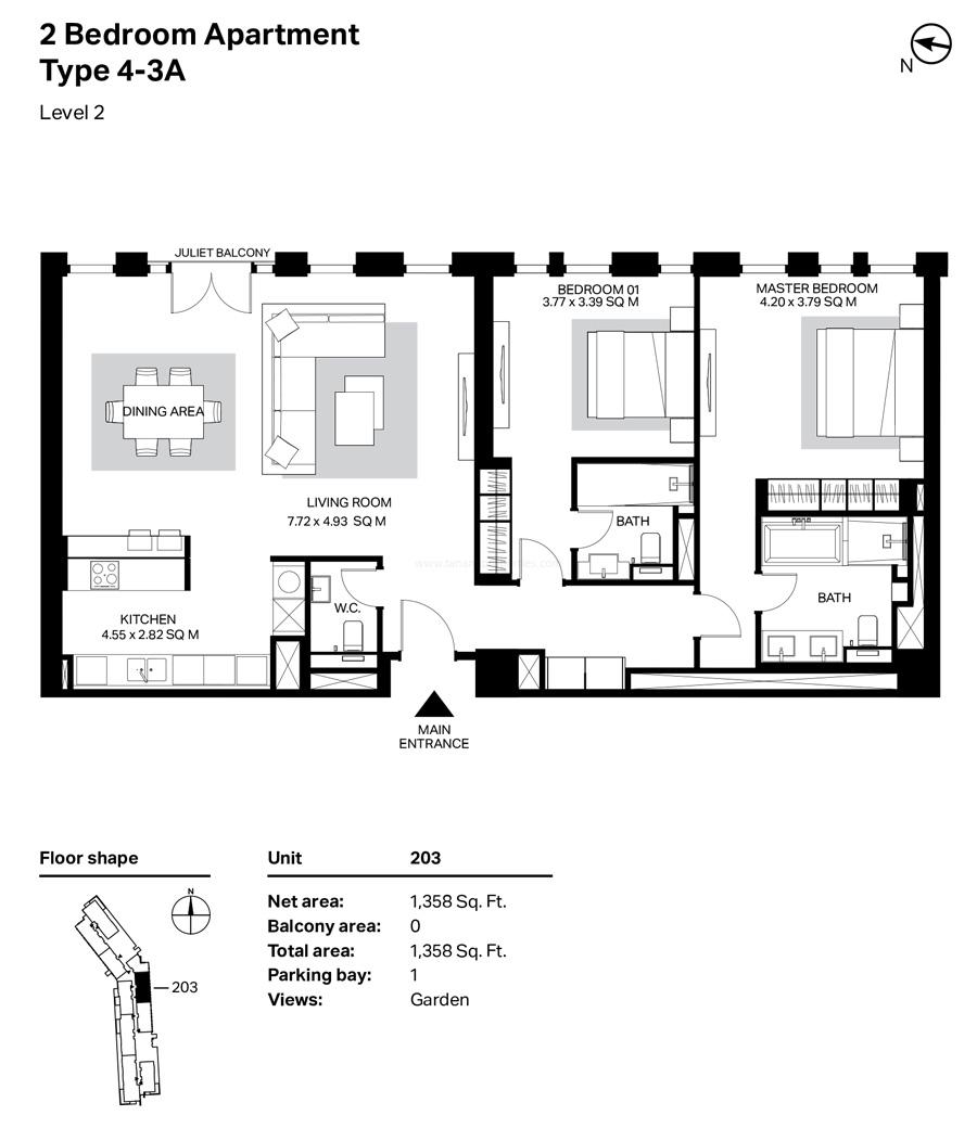 غرفتي نوم، النوع 4 – 3A ، المستوى 2 ، 1358 قدم مربع