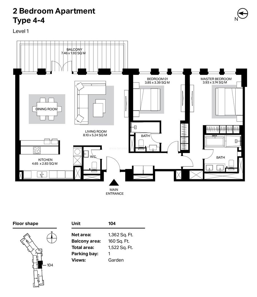 غرفتي نوم، النوع 4 – 4 ، المستوى 1 ، 1522 قدم مربع