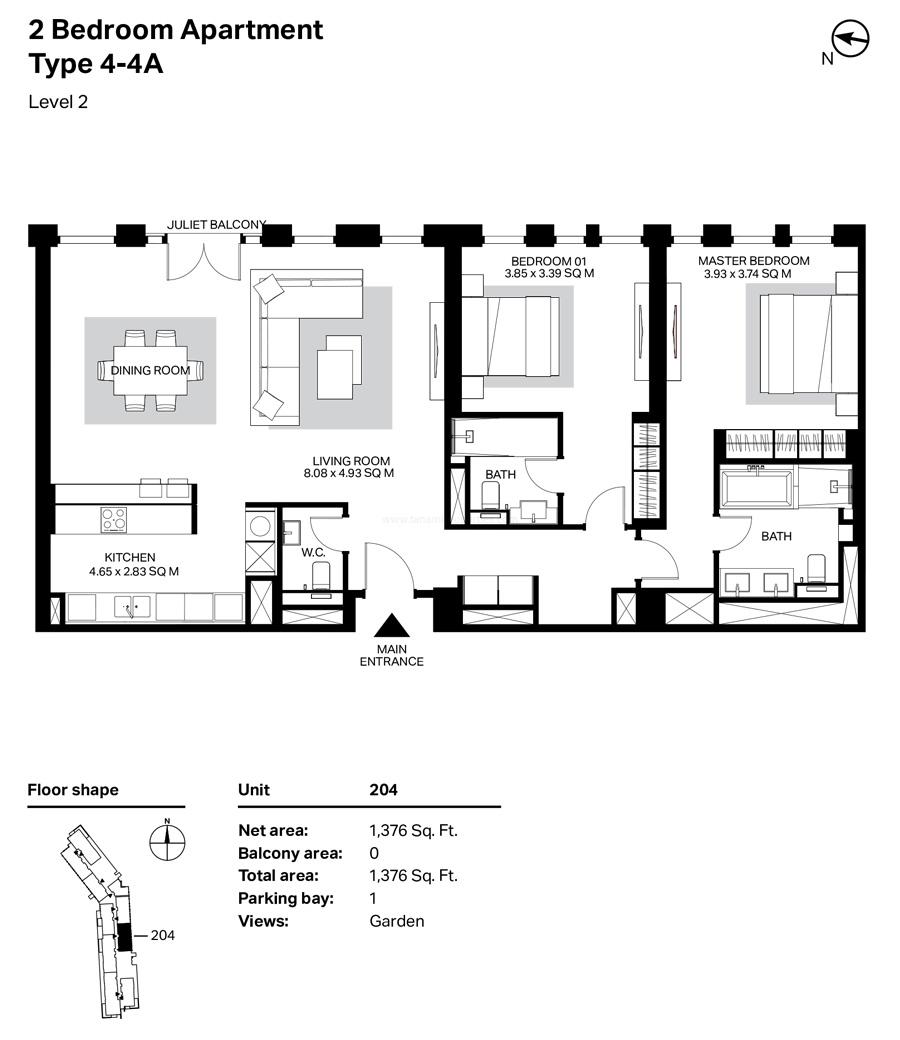 غرفتي نوم، النوع 4 – 4A ، المستوى 2 ، 1376 قدم مربع