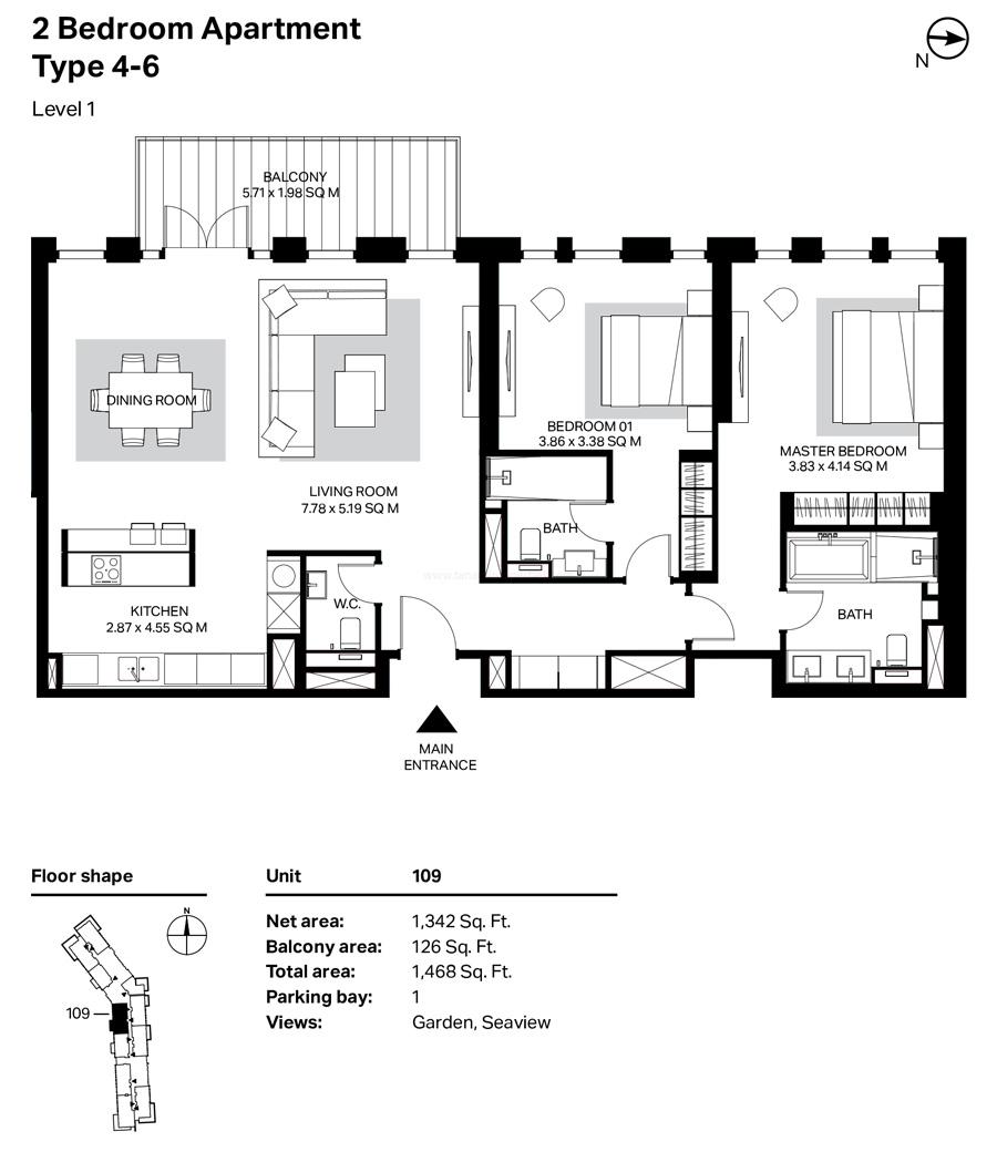 غرفتي نوم، النوع 4 – 6 ، المستوى 1 ، 1468 قدم مربع