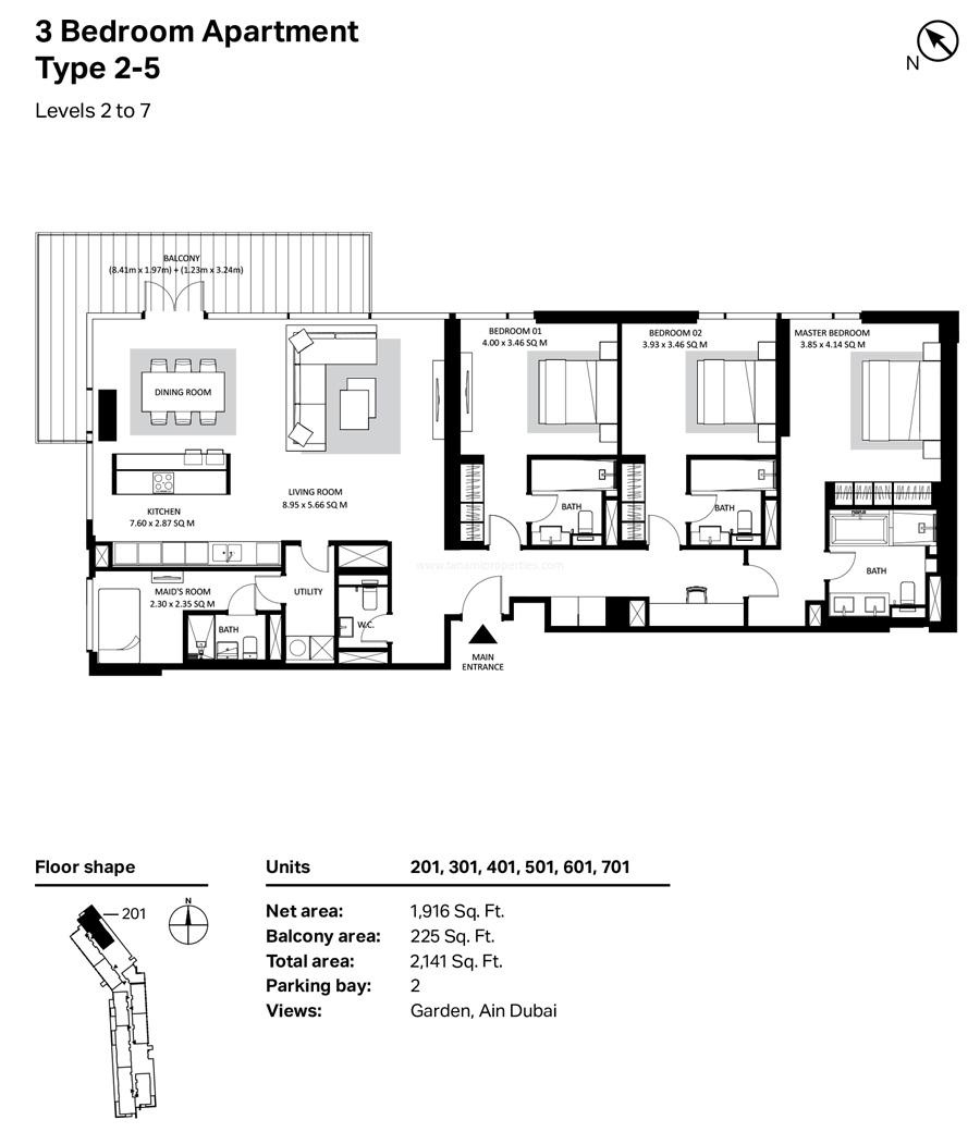 ثلاث غرف نوم، النوع 2- 5 ، المستوى 2 إلى 7 ، 2141 قدم مربع