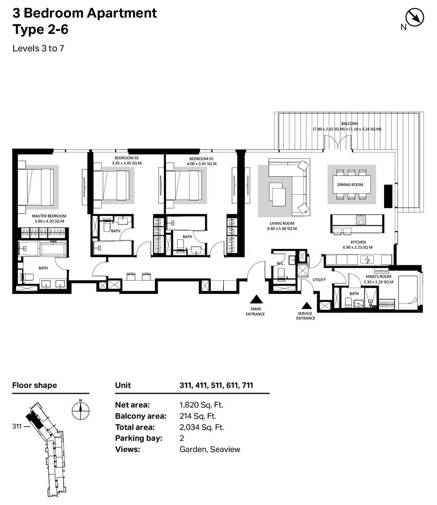 ثلاث غرف نوم، النوع 2- 6 ، المستوى 3 إلى 7 ، 2034 قدم مربع