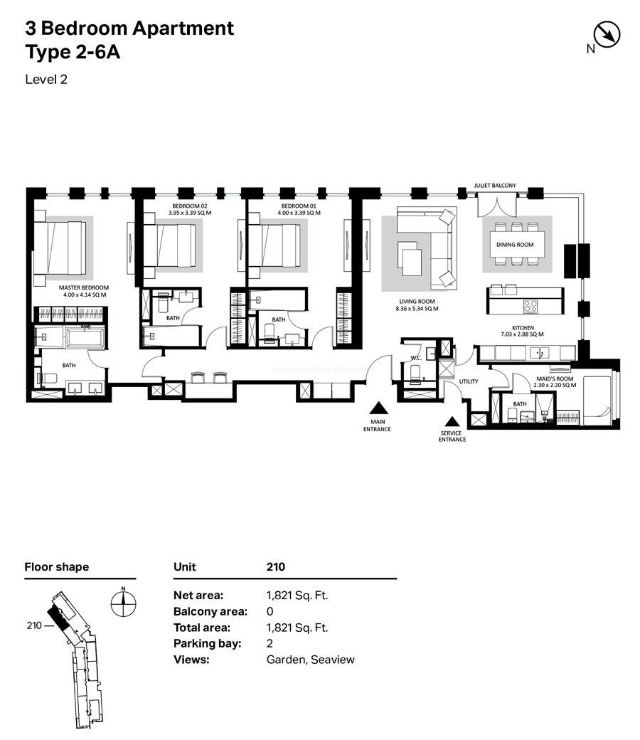 ثلاث غرف نوم، النوع 2- 6A ، المستوى 2 ، 1821 قدم مربع