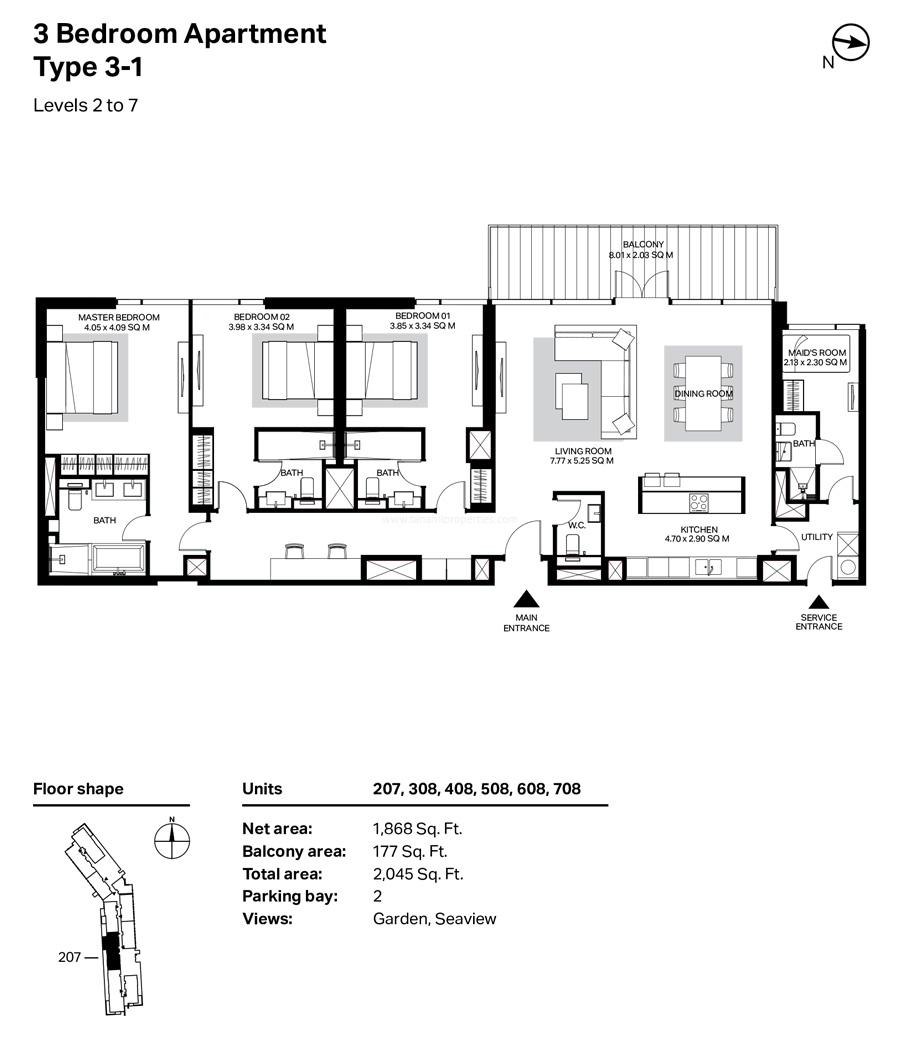 ثلاث غرف نوم، النوع 3- 1 ، المستوى 2 إلى 7 ، 2045 قدم مربع