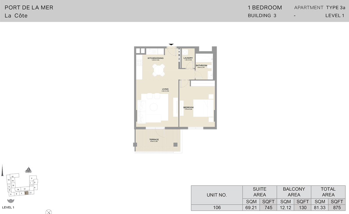 Bedroom 1  Building 3 - Level 1, Size 875-sqft
